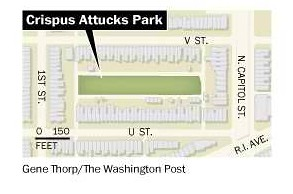 Location, Crispus Attacks Park, Bloomingdale neighborhood, DC