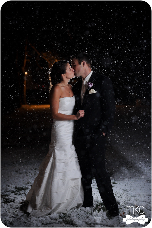 Bride & Groom kissing in the Snow