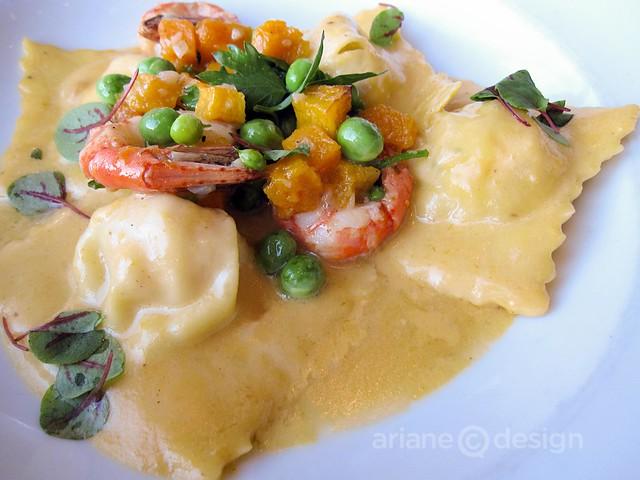 Spot prawn ravioli, butternut squash, spring peas, lemon