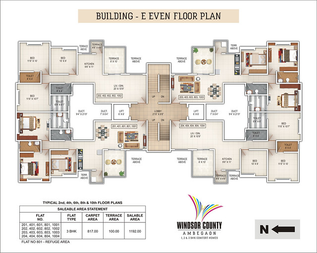 Windsor County Ambegaon Budurk - E Building - Even Floor Plan