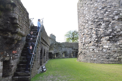 Climbing up the Beaumaris castle walls