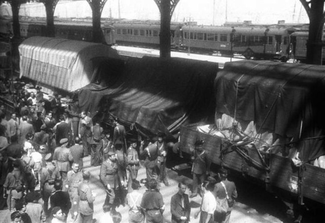 Llegada del tren con las obras procedentes de Ginebra a la estación del Norte de Madrid el 9 de septiembre de 1939. Foto EFE