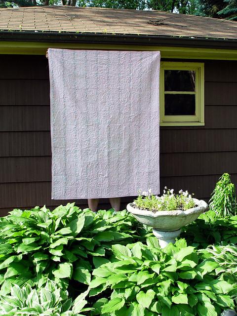 vintage sheet quilt, back