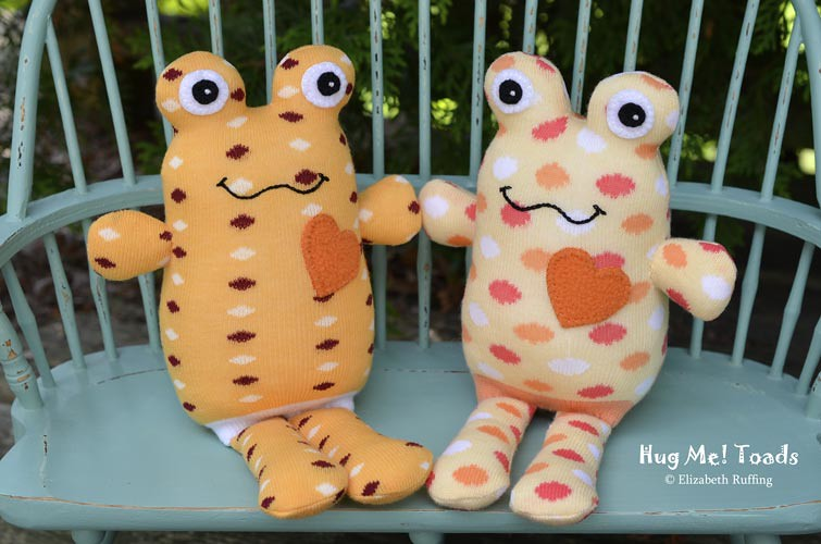 Soft Yellow and Orange Hug Me Sock Toads, with polka dots, original art toys by Elizabeth Ruffing