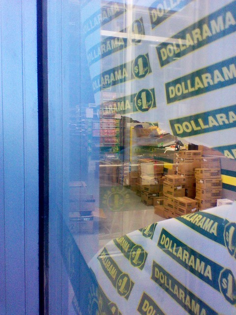 Looking into the Dollarama, Bloor and Bathurst, June 2012