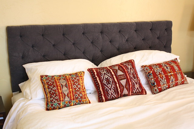 Involving the Senses: DIY Button Tufted Headboard