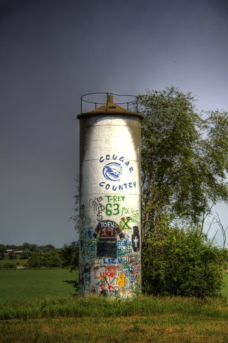 Silo covered with high school  graffiti