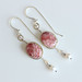One of a kind hand made solid gold and silver earrings with Rhodochrosite gemstone and freshwater pearls