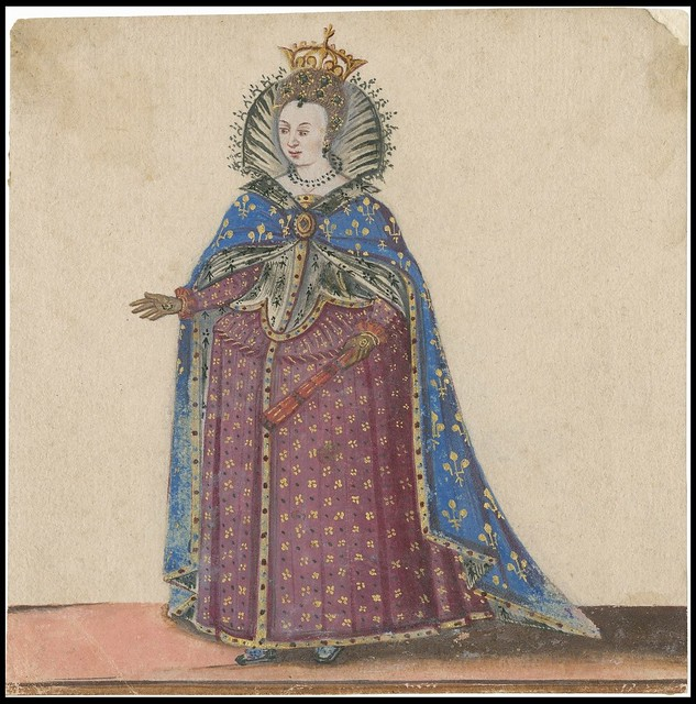 Crowned queen or royal with ceremonial costume and cape 1600s