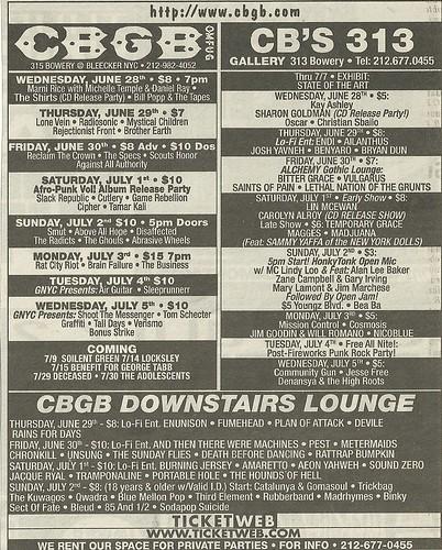 06/29/06 - 07/05/06 CBGB Schedule Ad