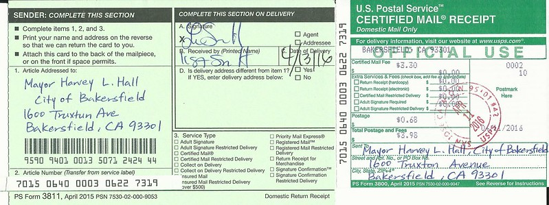 Mail receipt-Bakersfield Mayor Harvey Hall_041116