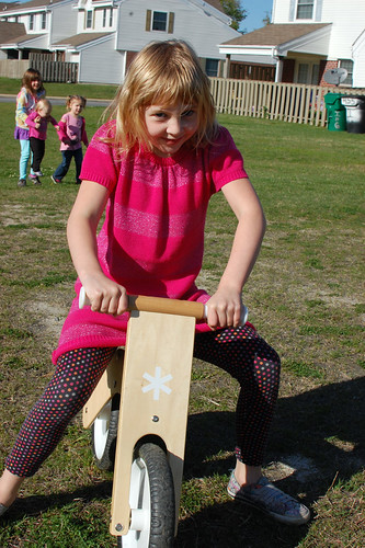 trying out the balance bike