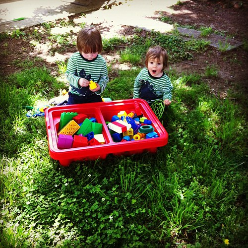 The boys are loving their new backyard (and the toys we scored from daycare!)