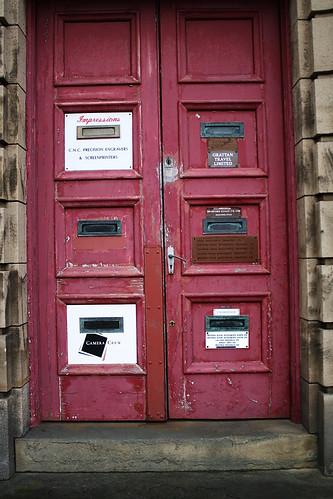 Door with signs