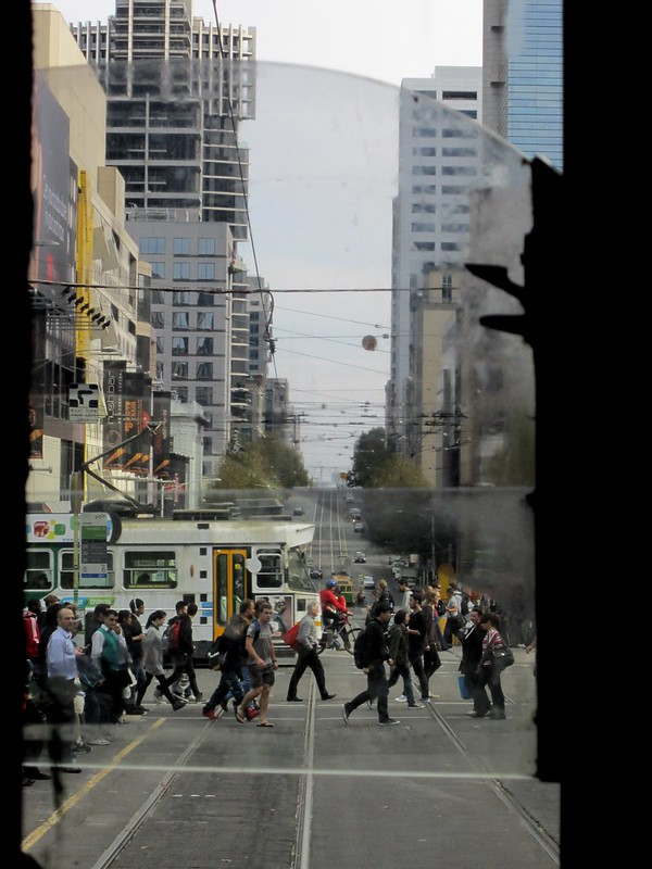 View out the front of a W-class tram; Latrobe Street