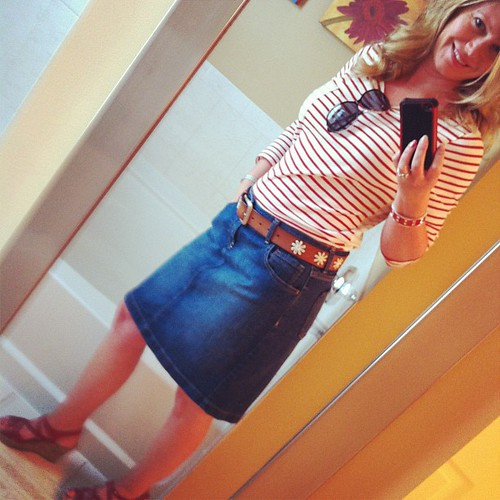Tuesday's ootd: After months of layering, I feel oddly under-dressed in just a plain old skirt and top.  Both from Old Navy with Target belt and BOC sandals.  Bracelet is Target, too.