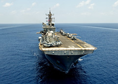 In this file photo, USS Makin Island (LHD 8) conducts flight deck operations in the Indian Ocean, May 8, 2012. (U.S. Navy photo by Chief Mass Communication Specialist John Lill)