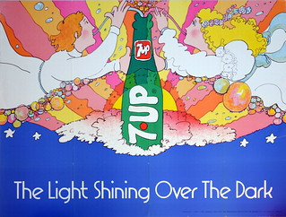 """1971 60""""x45"""" 7Up UnCola """"The Light Shining Over The Dark"""" vintage poster by Pat Dypold #7Upvintage"""
