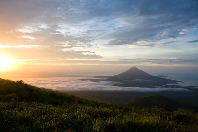 Sunrise, Momotombo volcano from El Hoyo, Nicaragua