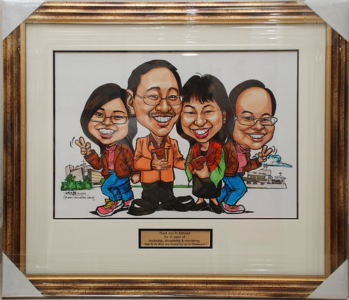 Pastor caricatures at churches framed up with metal engraving inscription