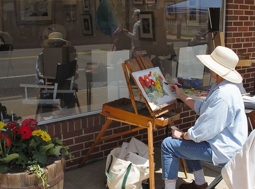 Painter in front of North End Gallery, Leonardtown