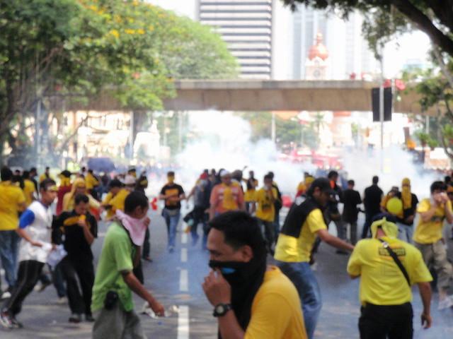 Riot control patrols continued firing tear gas