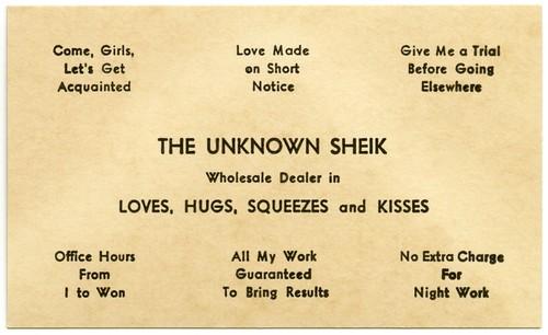 The Unknown Sheik, Wholesale Dealer in Love