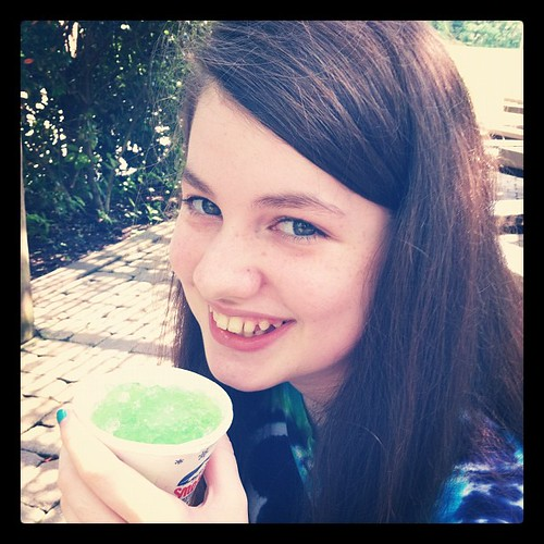 Snow cone time. We picked hottest day in a month to go to the zoo apparently.
