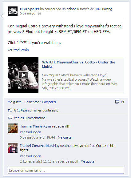 Facebook on HBO Sports