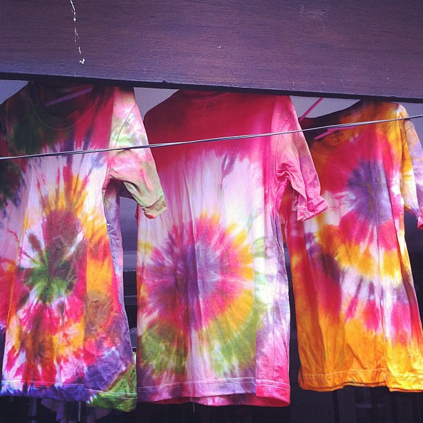 Waiting for our tie-dye shirts to dry.