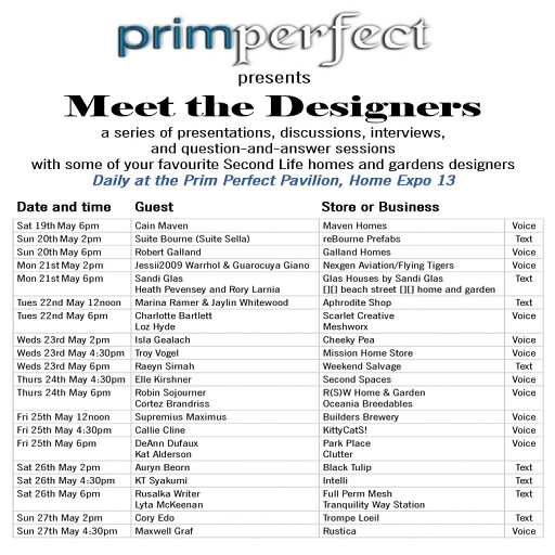 Meet the Designers schedule - Prim Perfect Pavilion