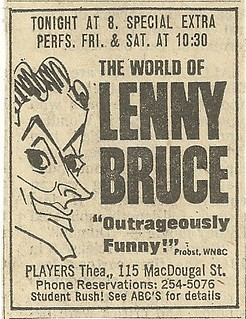 08/07 & 8-10/74 Lenny Bruce @ Players Theater, NYC, NY
