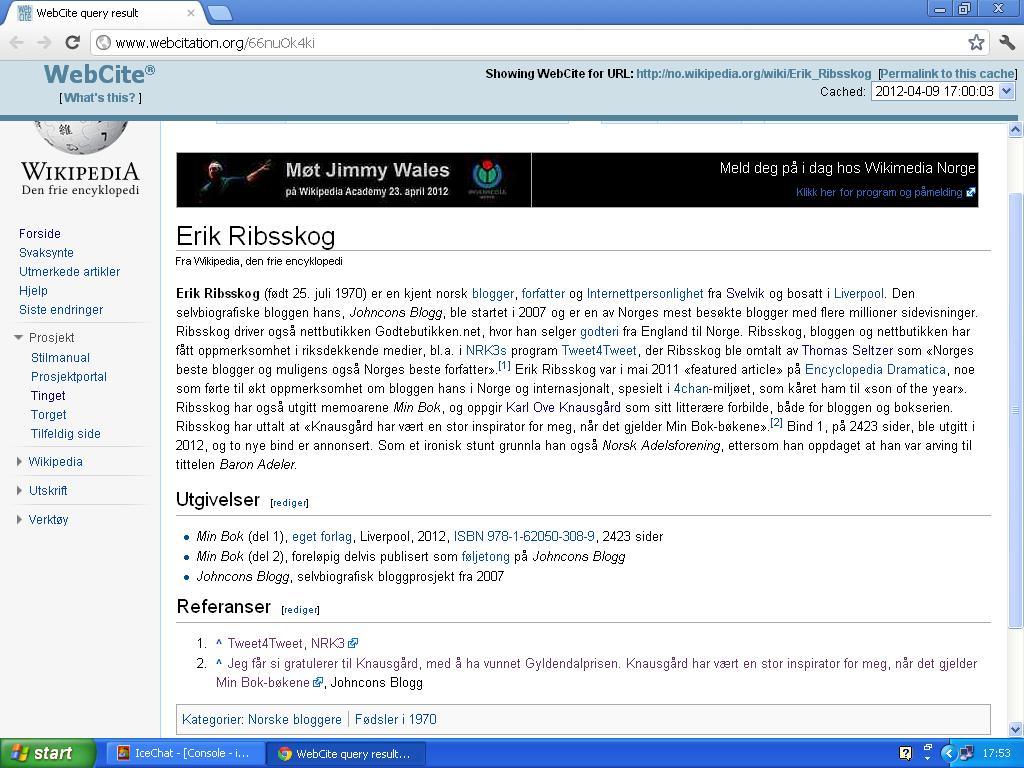 noen har prøvd å starte en wiki side om meg