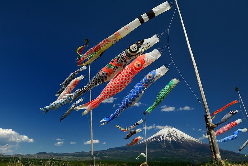 鯉のぼりと富士山