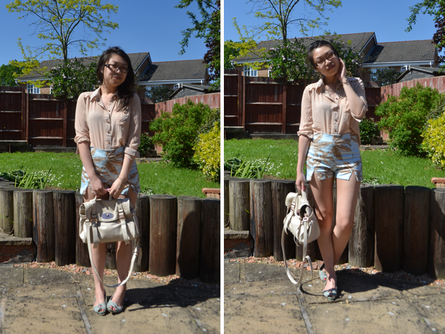 daisybutter - UK Style Blog: what i wore, ootd, outfit post, new look, sheer shirts, printed shorts, motel rocks, mulberry alexa, SS12