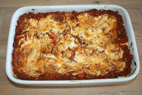40 - Möhren-Ziegenfrischkäse-Lasagne mit Rinderhack - Carrot goat cream cheese lasagne with ground beef - Fertig gebacken