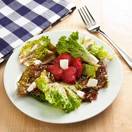Roast Strawberry Salad with Goat Cheese, with Fork and Napkin