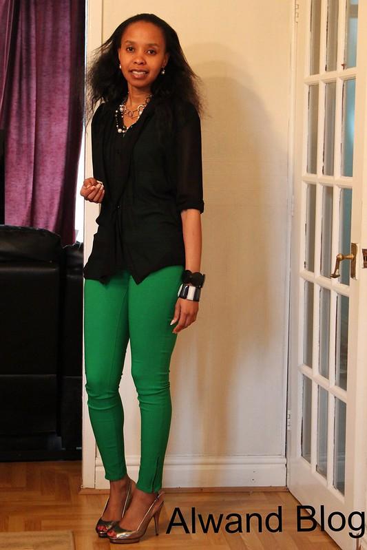 Green zipper pants & black chiffon blouse: Street Style: