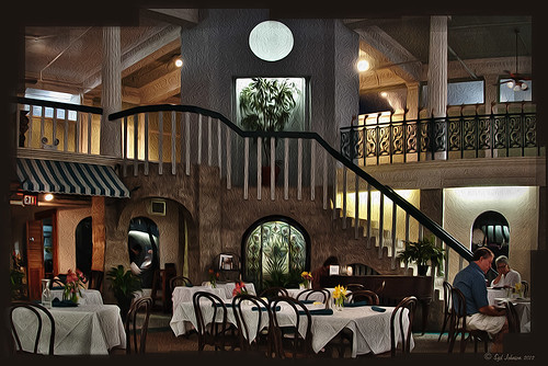 Image of the Alcazar Cafe using Photoshop's Oil Paint Filter