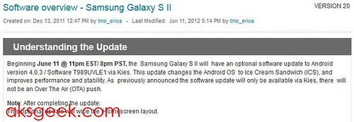 T-Mobile Samsung Galaxy S II Android 4.0 update