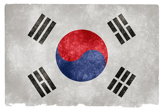 South Korea Grunge Flag