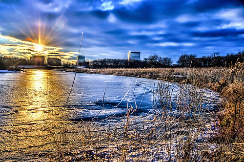 winter snow ice nature lakes sunsets officebuildings hdr odc cookcountyforestpreserve nikkor18300mm ourdailychallenge busseforestnaturepreserve