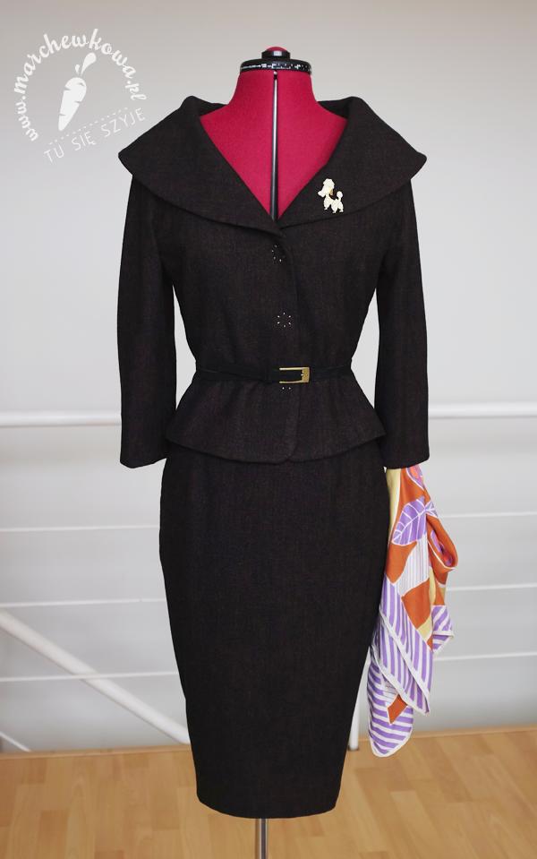 marchewkowa, blog, szycie, krawiectwo, moda, retro, vintage, lata '50, 50s style jacket, Burda 12/2005, #112, wykrój, żakiet, spódnica, tweed