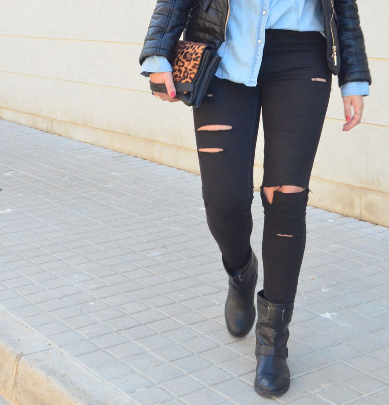 florenciablog look rocker broken jeans inspiration leopard clutch stradivarius how to wear broken jeans (6)
