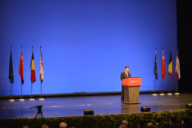 President of the People's Republic of China H.E. Mr XI Jinping addressing the students of the College of Europe.1 April 2014