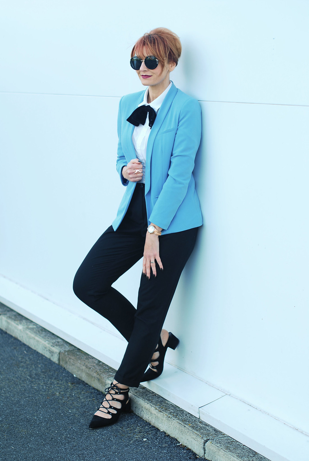 Maison EBEL collection rose gold diamond watch, sky blue blazer, black velvet bow tie, black ghillie lace-up shoes, oversized round sunglasses | Not Dressed As Lamb