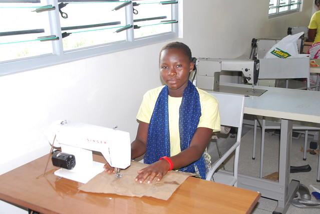 Student in our new sewing room