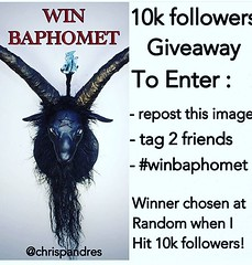 @chrispandres is doing this awesome give away #winbaphomet . Be sure to check out his amazing work! @brandontaylor4 @davidshawn671 #10k
