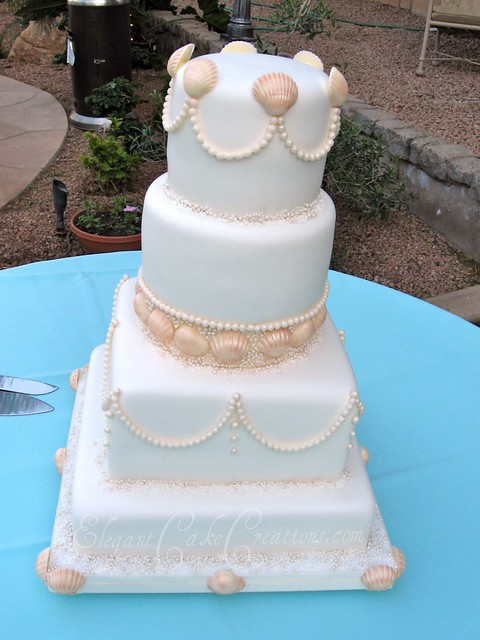 Elegant Pearl Wedding Cake Bride wanted the cake to have clean lines and a