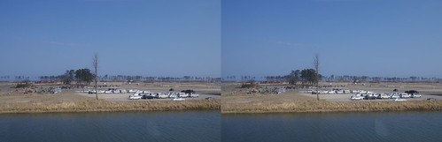 Stereo view (parallel) of Natori hit by tsunami on march 11, 2011.